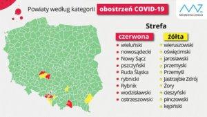 Mapa. Powiaty wg kategorii obostrzeń COVID-19
