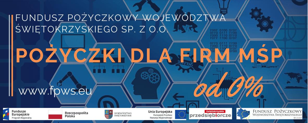 Baner FBWŚ. Wsparcie dla firm MŚP z województwa świętokrzyskiego – pożyczki od 0%