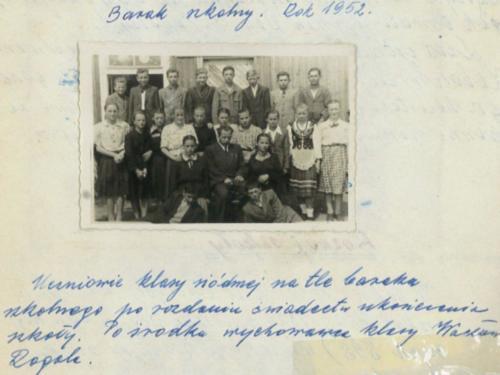 Barak szkolny. 1952 r..