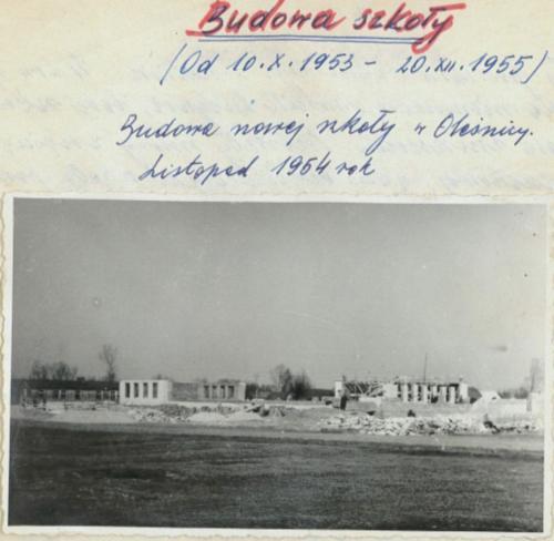 Budowa szkoły. 1955 r.